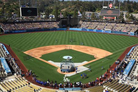 Los Angeles - July 1, 2012: A Dodgers baseball game at Dodger Stadium.