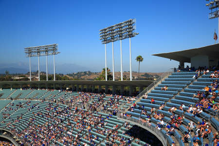 Los Angeles - June 30, 2012  Upper decks of Dodger Stadium before a sunny day baseball game