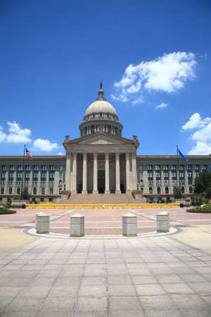 capitol: Oklahoma State Capitol Building - The state capitol building in Oklahoma City, with dome, stairs and columns   Stock Photo