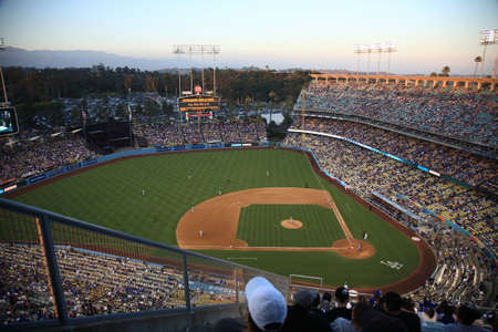 Los Angeles - July 1, 2012  A Dodgers baseball game at dusk at Dodger Stadium  Stock Photo - 25454808