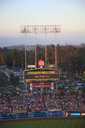 Los Angeles - July 1, 2012  Dodger Stadium scoreboard at dusk during a Dodgers baseball game in Los Angeles