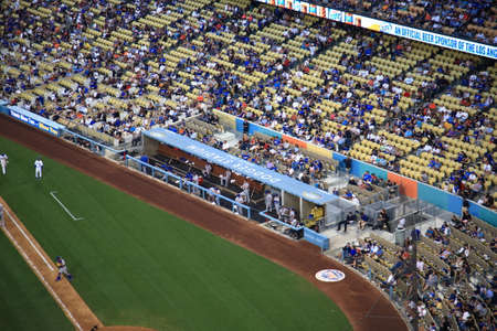 Los Angeles - July 1, 2012   The New York Mets watching from the dugout at a baseball game at Dodger Stadium, home of the Los Angeles Dodgers  Editorial