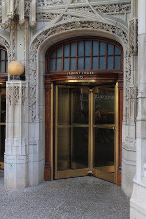 Chicago - June 18, 2012  Famous Tribune Building entrance on Michigan Avenue