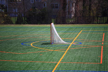 Lacrosse field with goal and artificial surface