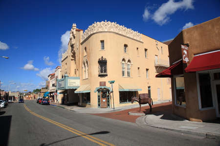 fe: Santa Fe, New Mexico - September 23, 2010: Winding streets and adobe buildings attract visitors in Santa Fe. Editorial