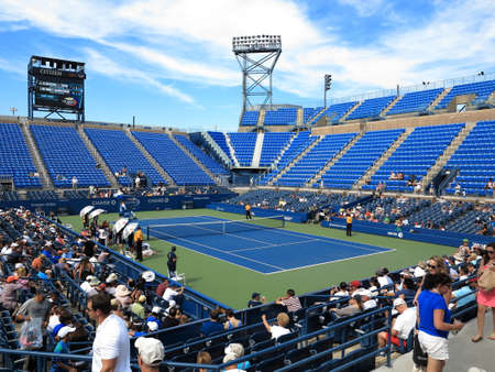 louis armstrong: Flushing, New York - September 3, 2014: Louis Armstrong Stadium, the original US Open venue at the Billie Jean King Tennis Center. Editorial