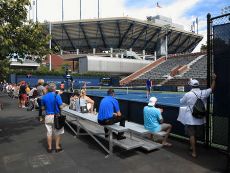 louis armstrong: Flushing, New York - September 3, 2014: A side court match during the 2014 US Open Tennis Championships.