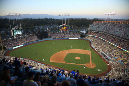 dodgers: Los Angeles - July 1, 2012: Dodger Stadium at dusk for a baseball game in Los Angeles.