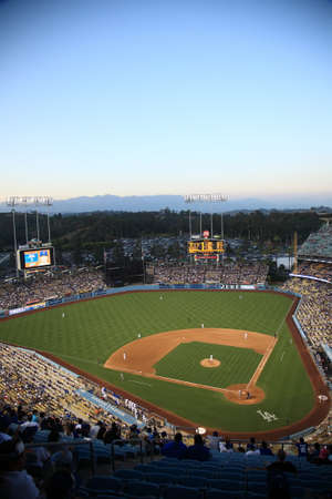 Los Angeles - July 1, 2012: Dodger Stadium at dusk for a baseball game in Los Angeles.
