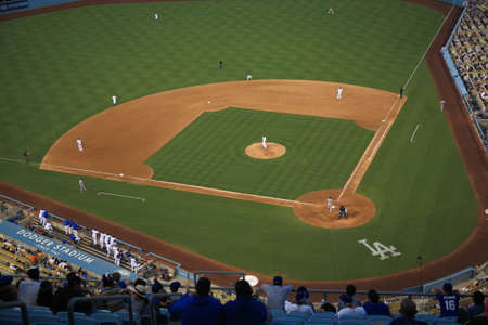 Los Angeles - July 1, 2012: Dodger Stadium infield during a baseball game in Los Angeles.