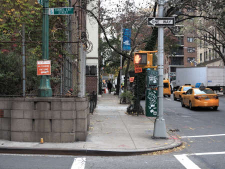 New York - November 13, 2014:  A corner in a residential section of Manhattan.