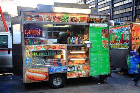 New York - March 27, 2013:  Food stand on a Manhattan street. Editöryel