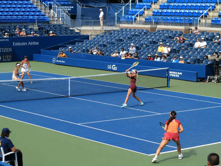 flushing: Flushing, New York - September 3, 2014: Doubles match at Louis Armstrong Stadium, during the 2014 US Open Tennis Championships.