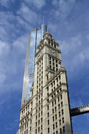 michigan avenue: Chicago - June 18, 2012: Wrigley Building and Trump Tower as seen from Michigan Avenue