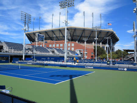 louis armstrong: Flushing, New York - September 3, 2014: Side courts adjacent to Arther Ashe Stadium during the 2014 US Open Tennis Championships.