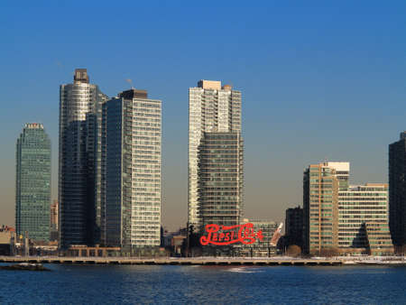 hunters tower: New York - March 6, 2015: Famous Pepsi-Cola neon in Gantry Plaza State Park, Queens.