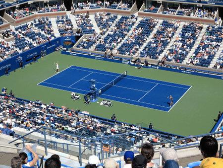 flushing: Flushing, New York - September 3, 2014: A crowded Arthur Ashe Stadium for a 2014 U.S. Open tennis match, Azarenka vs Makarova.