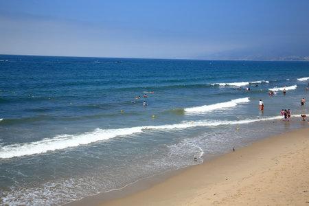 california beach: Santa Monica, California - July 1, 2012: California beach near Santa Monica Pier, with copy space. Editorial