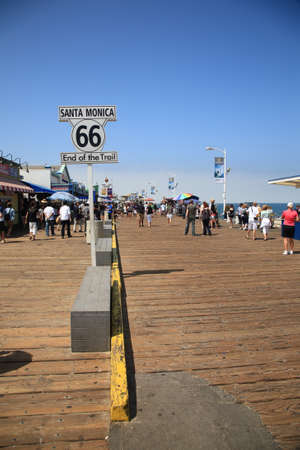 terminus: Santa Monica, California - July 1, 2012: Traditional western terminus of Route 66 on the Santa Monica Pier in California, Editorial