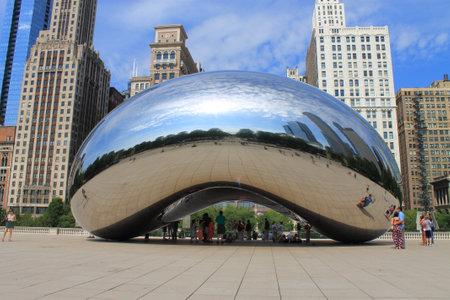 chicago: Chicago, Illinois - June 18, 2012: Cloud Gate sculpture in Millennium Park, known as the Bean.