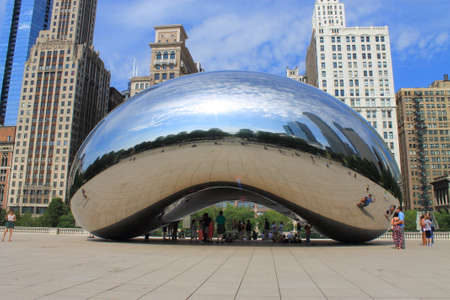 Chicago, Illinois - June 18, 2012: Cloud Gate sculpture in Millennium Park, known as the Bean.