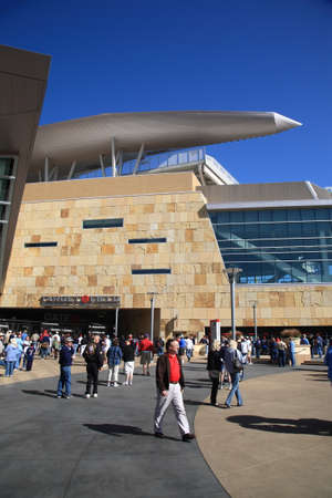ballpark: Minneapolis, Minnesota - April 22, 2010: Fans arrive at Target Field, home of the Minnesota Twins. Editorial