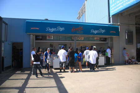 dodgers: Los Angeles - July 1, 2012: Dodger Stadium concession stand during a Dodgers baseball game.