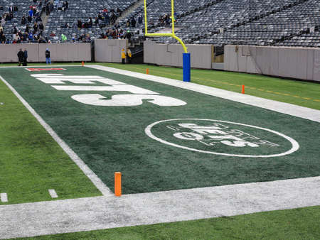 East Rutherford, New Jersey - December 6, 2014: End zone marked for the football Jets at MetLife Stadium in New Jersey. Editorial