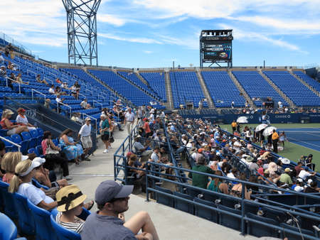 louis armstrong: Flushing, New York - September 3, 2014: Fans at Louis Armstrong Stadium, the original US Open venue at the Billie Jean King Tennis Center.