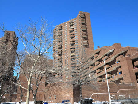 ny: New York - March 6, 2015: NYC East River Apartments near the Harlem River Drive in Manhattan.