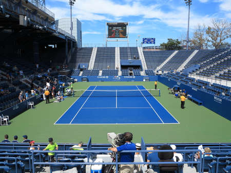 u s: Flushing, New York - September 3, 2014: Famous 6,000 seat Grandstand Court at the Billie Jean King Tennis Center. Editorial