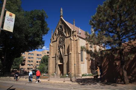 fe: Santa Fe, New Mexico - September 23, 2010: The Loretto Chapel, a Catholic Church now used as a museum in Santa Fe. Editorial