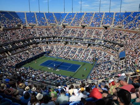 flushing: Flushing, New York - September 3, 2014: A crowded Arthur Ashe Stadium for a 2014 U.S. Open tennis match, Nishikori vs Wawrinki. Editorial