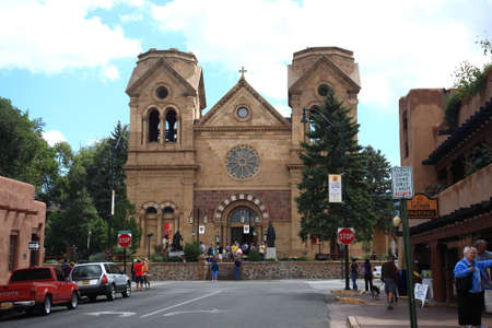 Santa Fe, New Mexico - September 23, 2010: A crowded Basilica of St. Francis of Assisi, a Santa Fe landmark built in the 1800s. Editorial