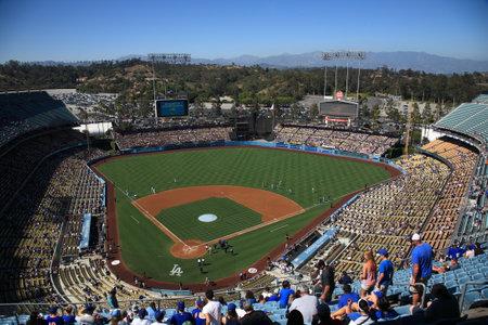 ballpark: Los Angeles - June 30, 2012: A sunny day Dodgers baseball game at Dodger Stadium.