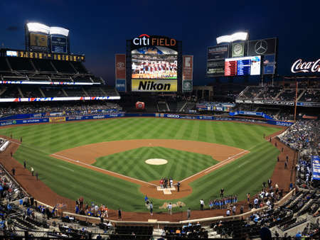 New York - September 22, 2017: Night game at Citi Field, baseball home of the New York Mets.