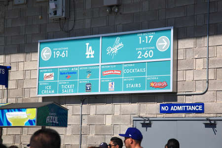 Los Angeles - July 1, 2012: Concession stand on a sunny day at a Dodgers baseball game at Dodger Stadium. Editorial