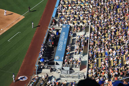 Los Angeles - June 30, 2012: Dugout at a Dodgers baseball game at Dodger Stadium.