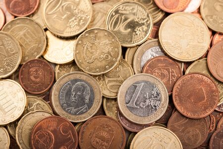 euro coins: Euro coins background, overhead, close up