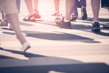 pedestrians: Pedestrians crossing the street of city