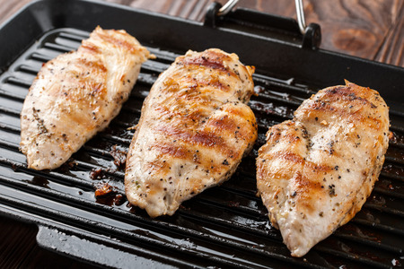 chicken breast: Grilled chicken breast fillet in the pan