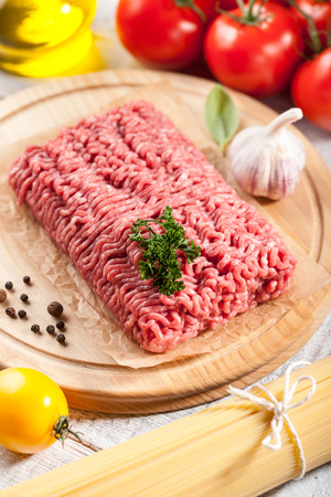 minced: Raw minced meat on the cutting board