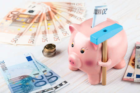 euro banknotes: Piggy Bank with a hammer, Euro banknotes and coins