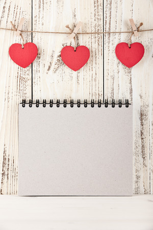 blank note: Valentines Day and Mothers Day background with hearts shaped tags