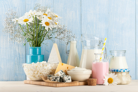 Dairy products on the wooden table Stock Photo