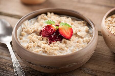 Oatmeal with strawberry for breakfast