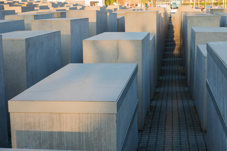 The Memorial to the Murdered Jews of Europe, Berlin, also known as the Holocaust Memorial, with its arrangement of concrete blocks or stelae Archivio Fotografico