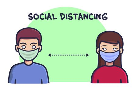 Social distancing, keep distance in public society people to protect from COVID-19, men and women keep their distance. Flat cartoon style. Vector illustration