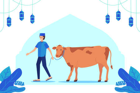 People Bring Cattle For Eid Al Adha Greeting Concept Premium Vector