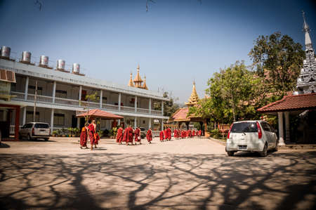 monks: Monks at temple in Myanmar Editorial